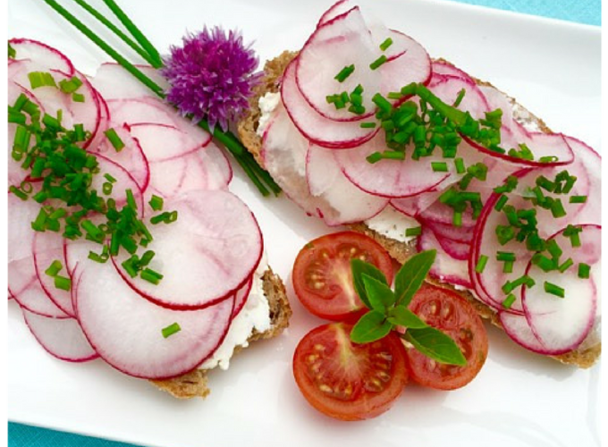 Radish and Cream Cheese Sandwich