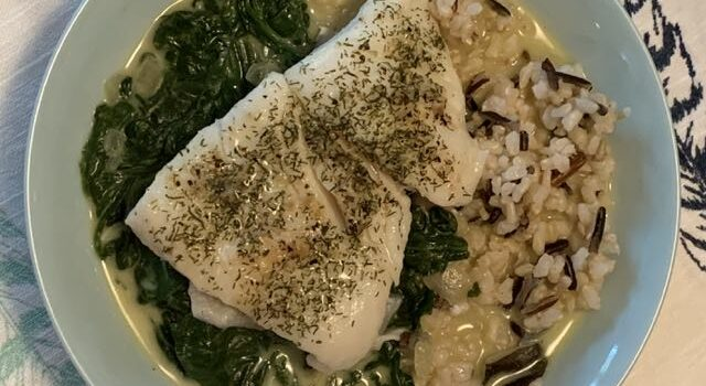 Coconut Spinach with Fish and Rice for Dinner Tonight!